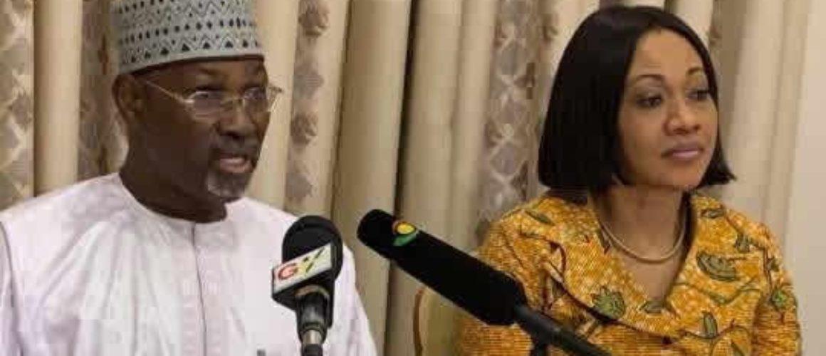 Former INEC boss (L) and Ghana's Jean Mensa