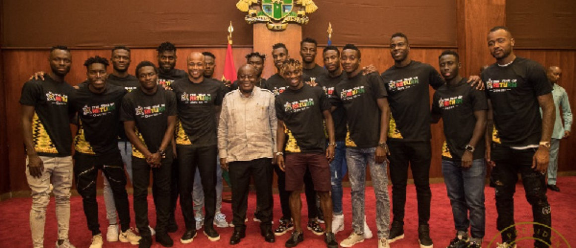 President Akufo-Addo with the Black Stars players